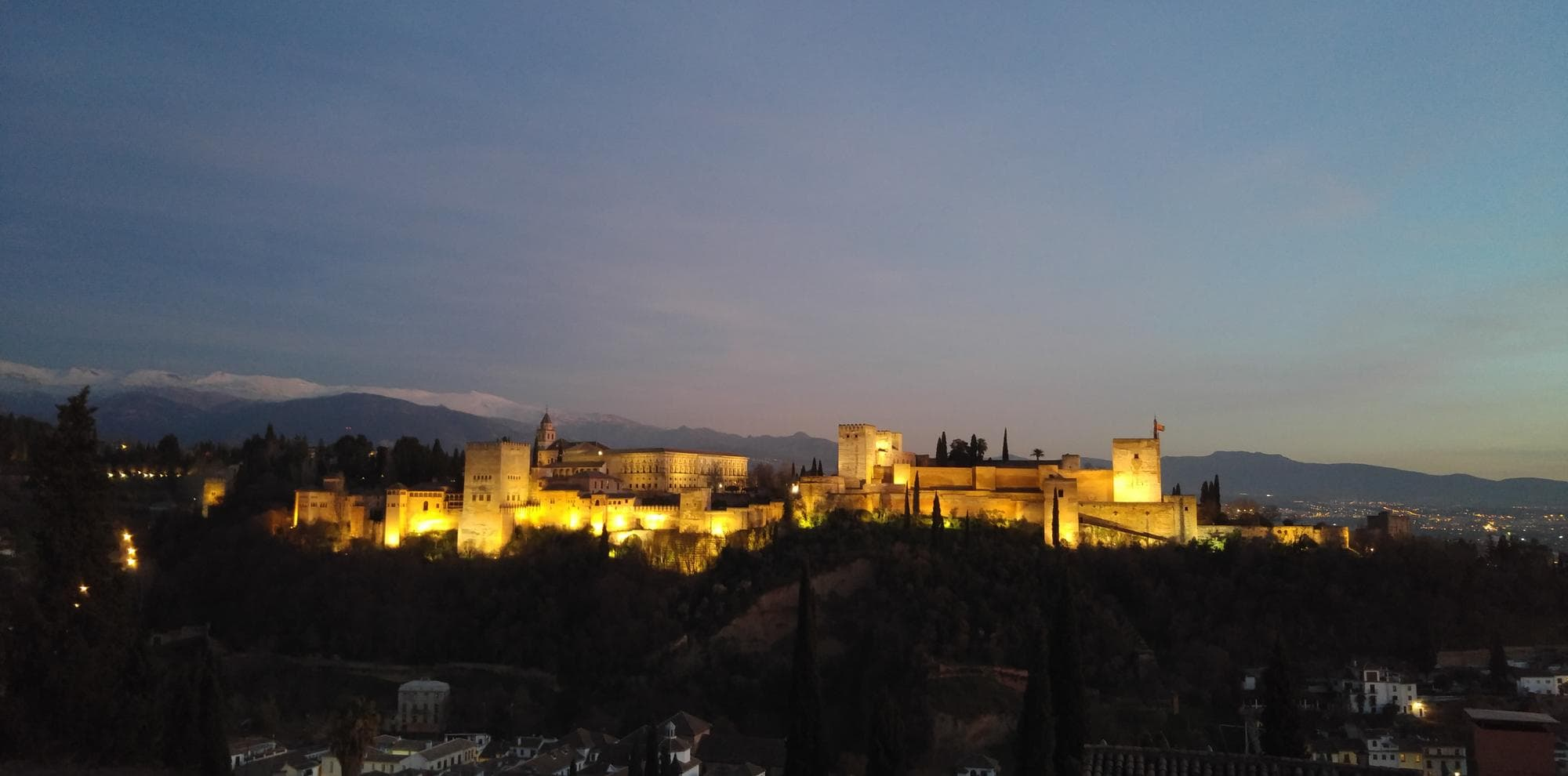 Ian's photo of the Alhambra in Granada at night